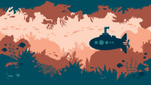 Silhouette Of Submarine And Co...