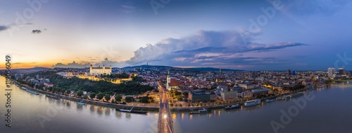 Bratislava, Slovakia - Panoramic View with the Castle and Old Town at Sunset Canvas Print