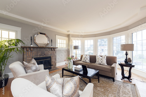 Fotografie, Obraz  Brightly Lit Classically Decorated Living Room