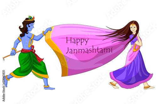 Photo  Krishna playing with Radha on Happy Janmashtami background
