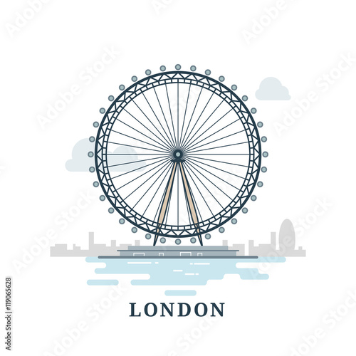 Flat modern vector London, the capital of Great Britain with London Eye Wallpaper Mural