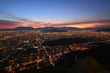 sunset and city lights in Santiago Chile