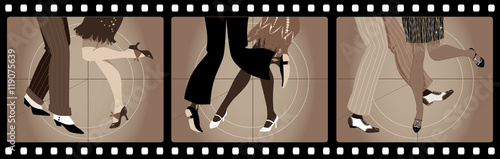 Fotografía Legs of people in 1920s clothes dancing the Charleston in old movie picture fram