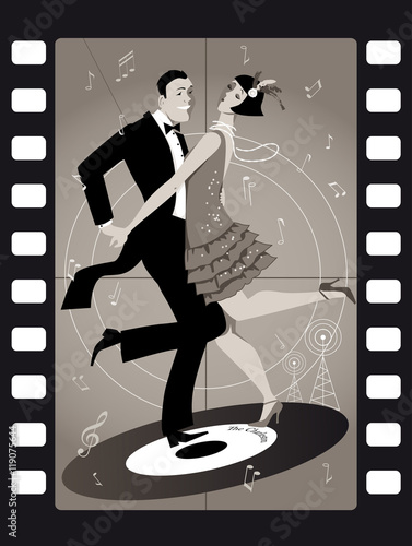 Fototapeta na wymiar A couple dressed in 1920s fashion dancing the Charleston on a vinyl record in an old movie frame, EPS 8 vector illustration, no transoparencies