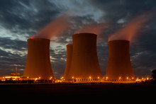 The Cooling Towers At Night, Nuclear Power Generation Plant, Temelin, Czech Republic