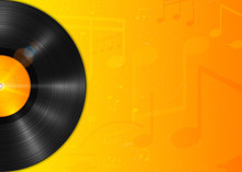 Long-playing LP Vinyl Record With Yellow Label. Music Background
