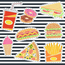 Set Of Fast Food Patches.