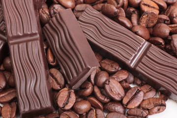 FototapetaCoffee beans and chocolate cut