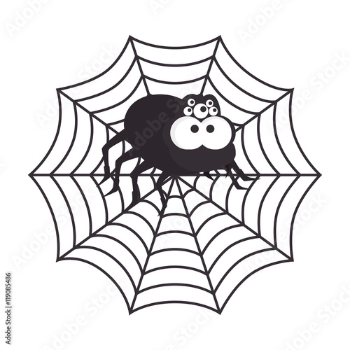 Spyder in cobweb arachnida animal halloween cartoon vector illustration Canvas Print