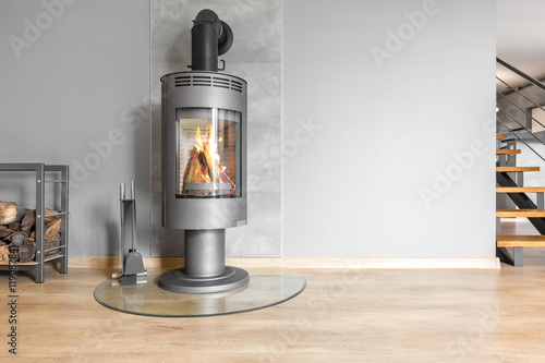 Tableau sur Toile Functional fireplace with trendy look