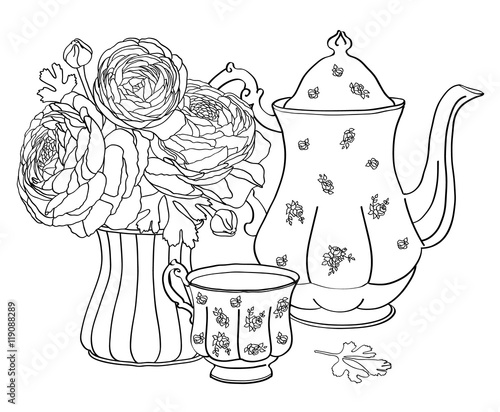 Cafe Set Tea Cup Teapot Ranunculus Flowers In A Vase Cartoon