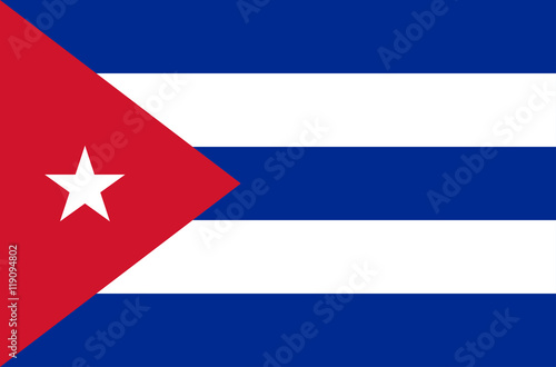Photo  Vector flat style Republic of Cuba state flag