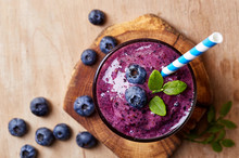 Glass Of Blueberry Smoothie