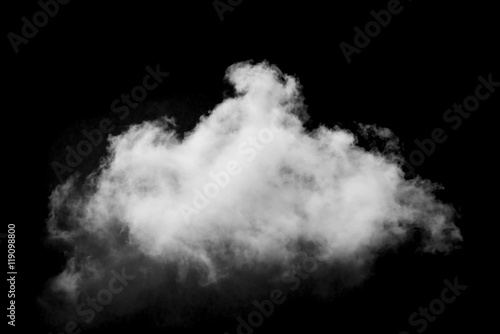 Aluminium Prints Heaven Beautiful single white cloud isolated over black background
