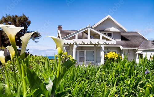 Photo Flower garden frames a view of classic vintage beach architecture