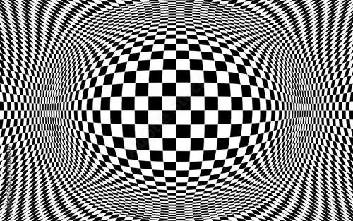 Fototapeta Streszczenie złudzenie optyczne ilustracja. Czarno-białe warcaby