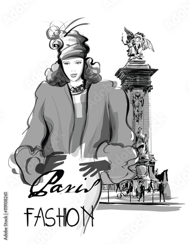 Acrylic Prints Art Studio woman walking on Alexandre III Bridge