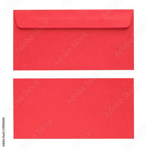 Fotografía  red envelope isolated on white background with Clipping Paths