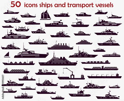 Stampa su Tela 50 vector icons  ships
