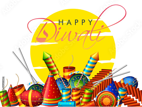 Canvas Prints Countryside Colorful Firecrackers for Diwali Celebration.