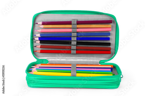 Cuadros en Lienzo Writing and drawing tools in a pencil box for school, office and