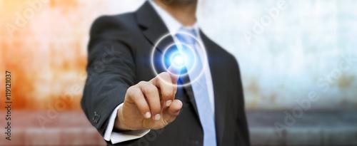 Fotografía  Businessman touching modern tactile screen button