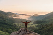 Leinwandbild Motiv Happy explorer in mountains