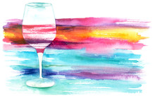 Watercolor Glass Of Red Wine W...