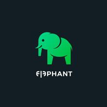 Flat Elephant Logo. Vector Elephant Logo. Elephant Icon. Flat Elephant Icon. Flat Vector Elephant Illustration. Green Elephant Logo. Ecology And Nature Logo. Green Logo. Nature Logo. Green Icon