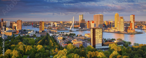 Spoed Fotobehang Rotterdam Rotterdam Panorama. Panoramic image of Rotterdam, Netherlands during summer sunset.