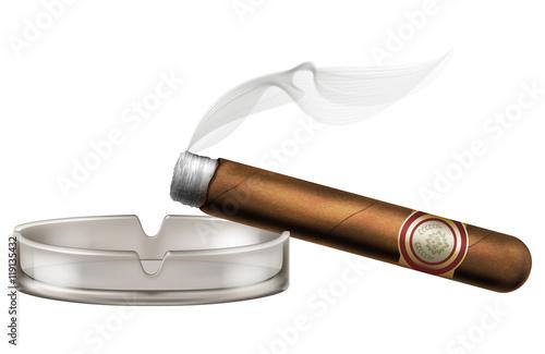 Photo  Burning cigar with an ashtray and smoke, realistic vector illustration