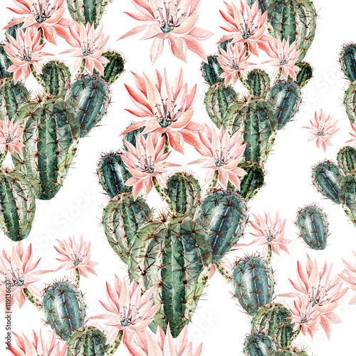 Cotton fabric Watercolor pattern with cactus .