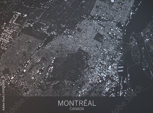 Photo Cartina di Montreal, vista satellitare, città, Quebec, Canada