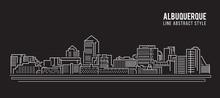 Cityscape Building Line Art Vector Illustration Design - Albuquerque City
