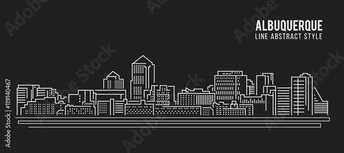 Cityscape Building Line art Vector Illustration design - Albuquerque city Canvas Print