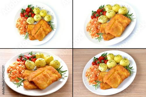 ryba smażona z ziemniakami, surówką i pomidorem