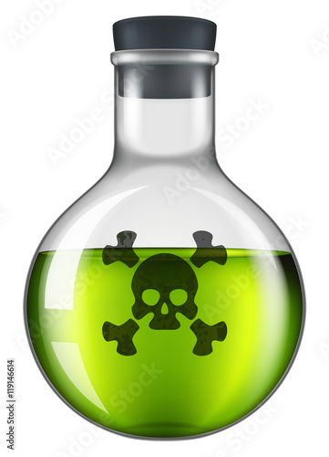 Fotografía  Poison bottle with a skull and crossbones label