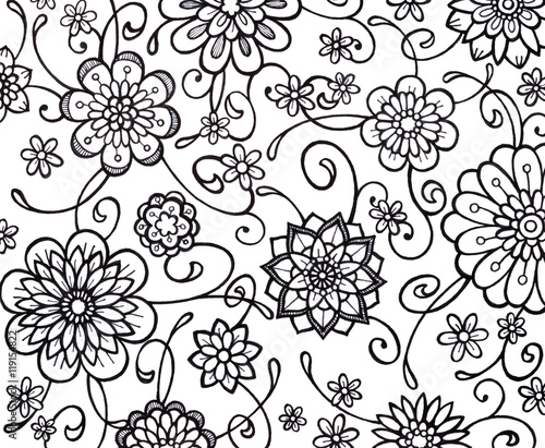 Black And White Flower Marker Art With Fancy Curls Curves Swirls Floral Wallpaper Pattern