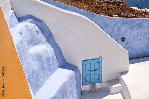 Fototapety, obrazy: BLUE WALL AND DOOR