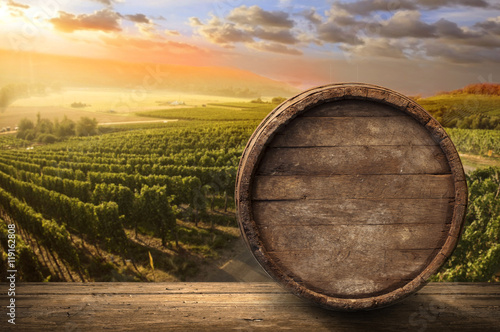 Red wine with barrel on vineyard in green Tuscany, Italy - 119162808