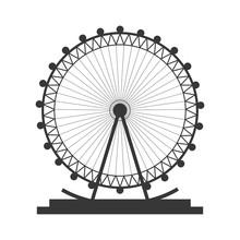 Flat Design Ferris Wheel Icon Vector Illustration