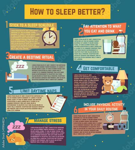 Photo  How to sleep better. Vector infographics