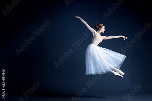 Obraz na plátně  Young ballerina in a beautiful dress is dancing in a dark photostudio