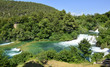 Skradinski Buk waterfall on the River Krka in Krka National Park, Sibenik-Knin County, Croatia. The waterfall consists of travertine barriers and a total of 17 different waterfalls