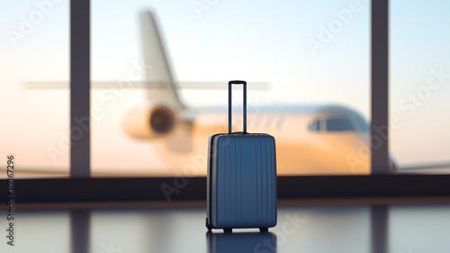 Obraz Suitcase in the airport - fototapety do salonu