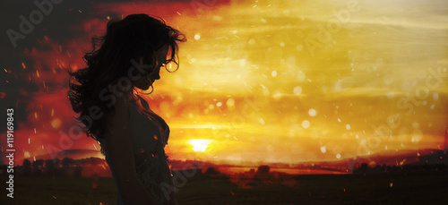 Printed kitchen splashbacks Artist KB Silhouette of a young woman standing in field on sunset