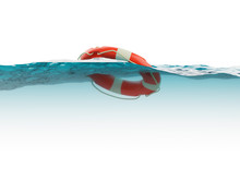 Lifebuoy On Water Surface Isol...