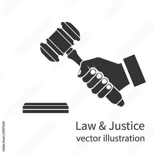 Fotomural Hand holding judges gavel icon.