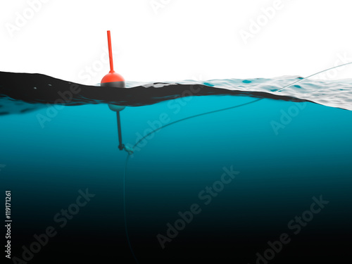 Fotografie, Tablou Bobber with fishing line under water