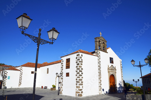 Beautiful street with old church in Vilaflor mountain village in Tenerife,Canary Islands,Spain.